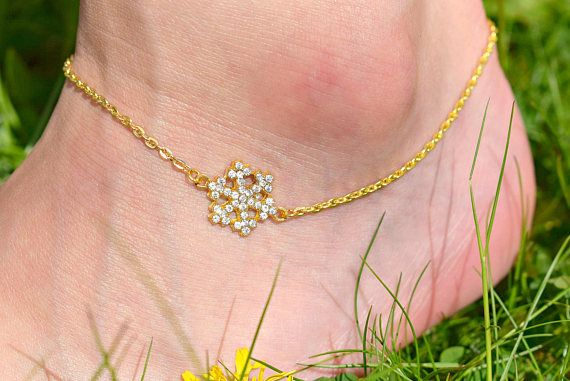 Gold Snowflake Anklet  Rhinestone Anklet  Snowflake Jewelry