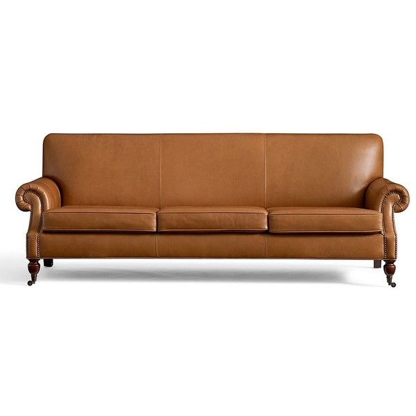 """Pottery Barn Brooklyn Leather Sofa 87"""" ($2,799) ❤ liked on Polyvore featuring home, furniture, sofas, nailhead trim sofa, pottery barn couches, leather sofa, nailhead couch and nailhead furniture"""