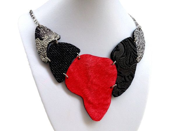 Handmade leather necklace ARMADILLO (black/red)  (2-in-1)