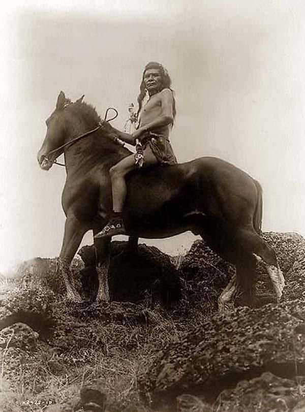 Photograph of a Indian Scout. It was created in 1910 by Edward S. Curtis.    The photo illustrates a Nez Perce man, seated on horse in a rocky area holding coup stick.