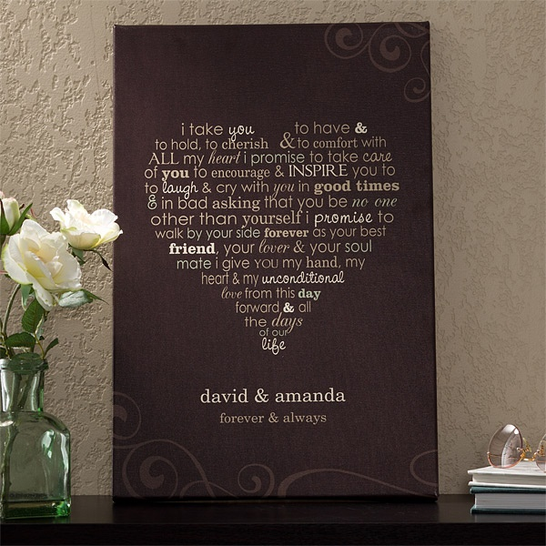 nice keepsake of the vow...  also nice vow here: Beautiful Vows, Vows Lov, Canvas Wall, The Vows, Gifts Ideas, Cute Ideas, Wedding Vows, Heart Shapes, Canvases