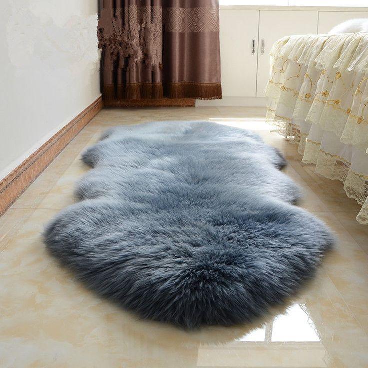 NEW Double Pelt Large Sheepskin rug Gray  Bedroom