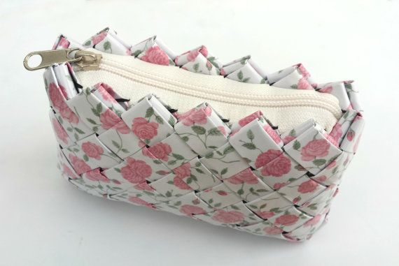 Handmade White Floral PaperBag with Pink Vintage by ThePaperBags