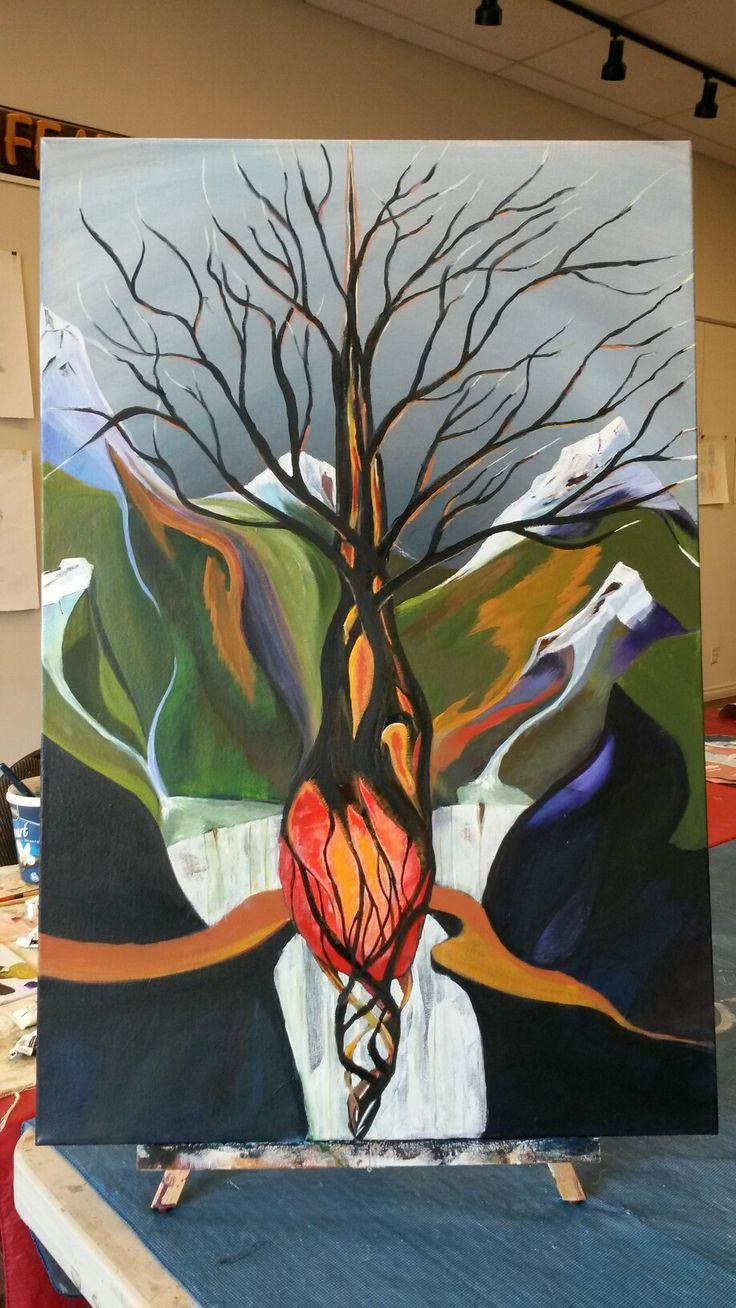 #Acrylic on canvas Heart tree 24x36