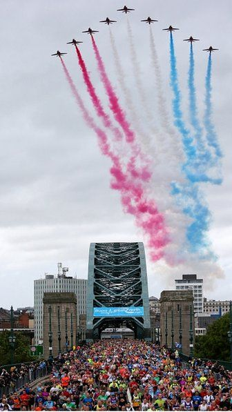 Red Arrows fly over the Tyne Bridge, BUPA great North Run, September 15 2013.