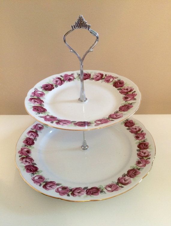 Lovely dark rose 2 tier plate stand by HoneybeeCrafts1977 on Etsy & 39 best vintage plates images on Pinterest | Dishes Vintage dishes ...