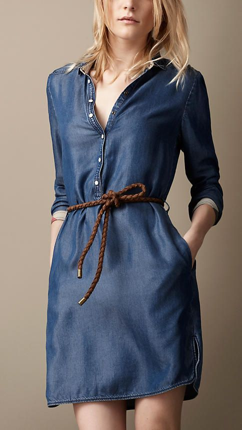 Robe tunique en denim | Burberry