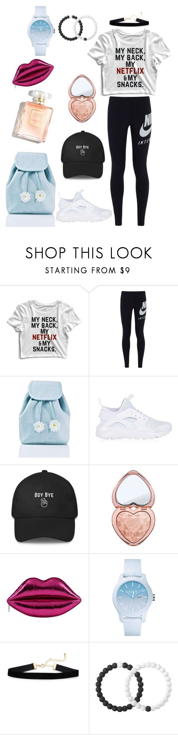 """Game Day Outfit"" by stelastaneva ❤ liked on Polyvore featuring NIKE, Sugarbaby, Too Faced Cosmetics, Lacoste and Lokai"
