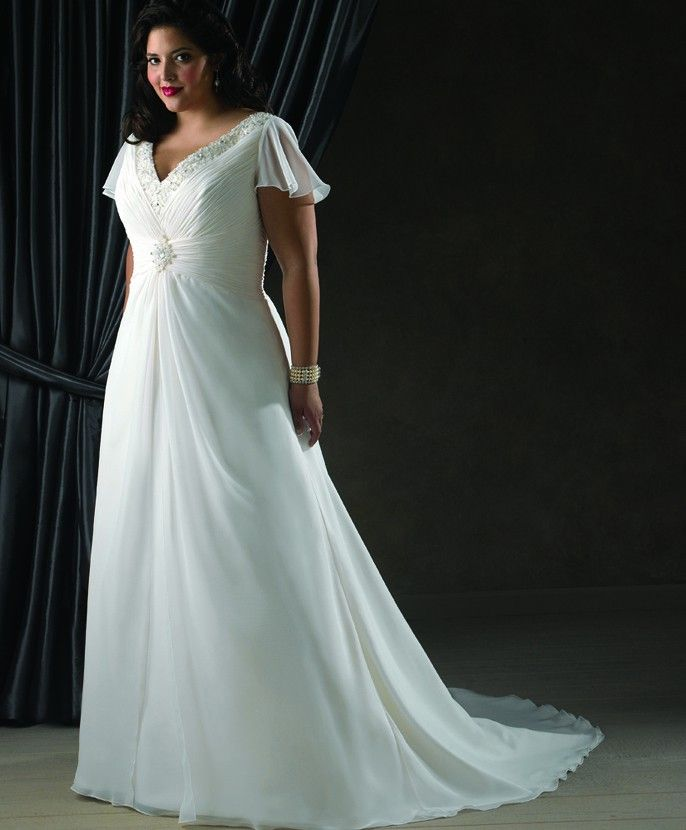Beautiful chiffon plus size wedding gown with flutter for Us size wedding dresses