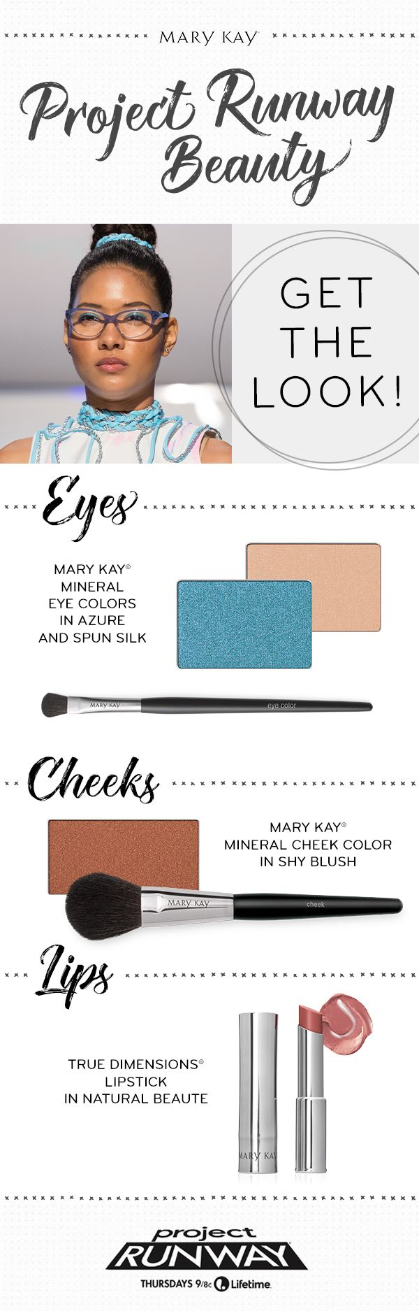 Eye-brightening blue shadow and a natural lip create a Project Runway makeup look that will turn heads! | Mary Kay