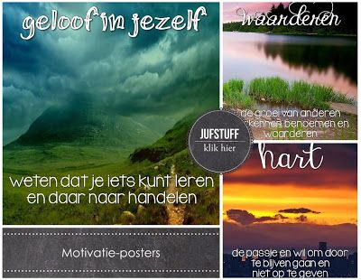 Motivatie-posters om op te hangen in de klas of op kantoor // posters (in Dutch) to hang in your classroom of office