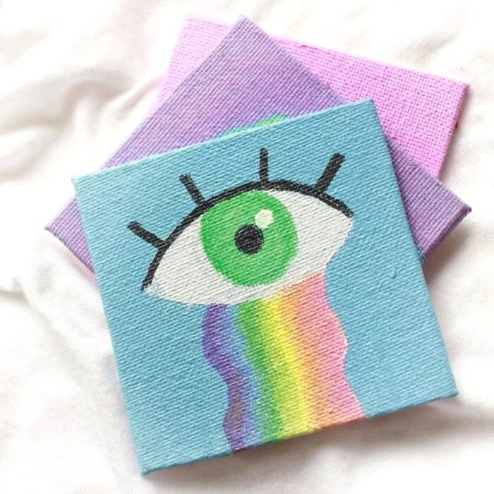 Small Canvas Paintings, Mini Paintings, Acrylic Painting Canvas, Disney Canvas Art, Mini Canvas Art, Pintura Hippie, Purple Wallpaper Iphone, Canvas Art Quotes, Aesthetic Painting