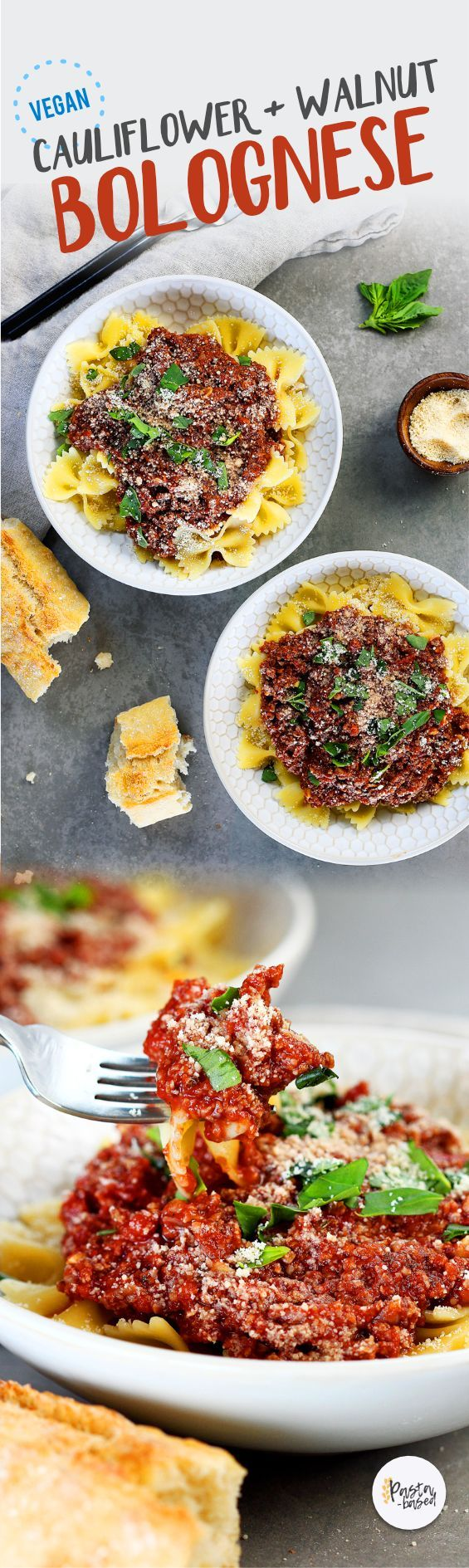 "This vegan/vegetarian bolognese sauce is made with caulifower, walnuts, and marinara sauce. It's so easy to make, requires less than 10 ingredients and 30 minutes. Chunky, flavorful, ""meaty,"" healthy, and perfect for pasta night."