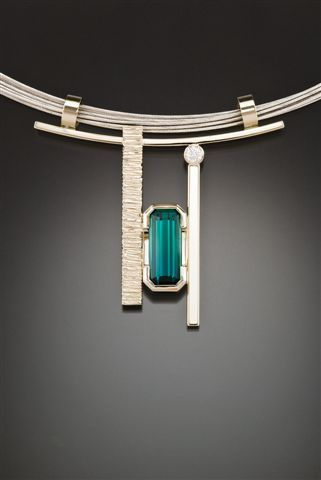 Susan Marie Phipps Designs, indicolite and diamonds pendant, set in white gold