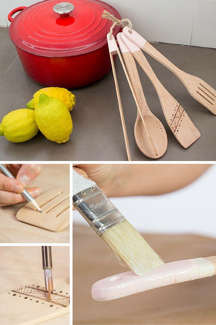 Cómo decorar utensilios de cocina ➜ Aprende a usar un pirograbador y decora tus cucharas de madera con motivos geométricos  #DIY #Manualidades #Cucharas #Madera #Utensilios #Cocina #Pirograbador