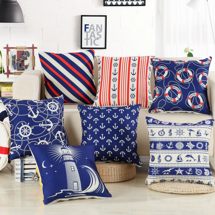 >> Click to Buy << Custom made Mediterranean style Cushion elegant navy blue Chair Cushion American geometric abstract Cushions For Sofas #Affiliate