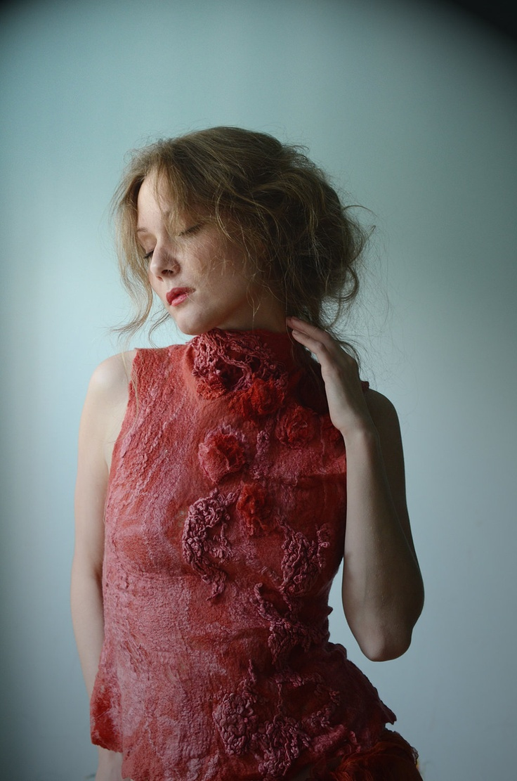 Eco fashion top Nuno felted top in red from natural silk and wool dyed with plants via Etsy.