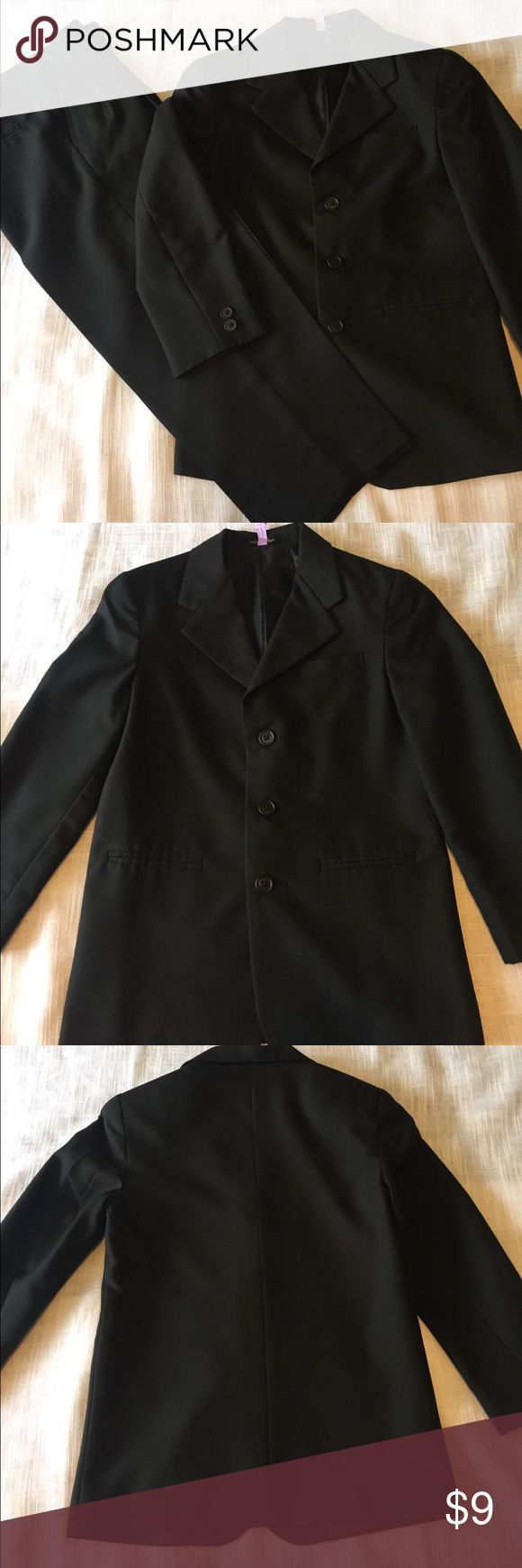 "Boys black Suit Size 10r coat.  Size 8 husky pants.  Black with pleated pant.  Pants have a bit more wear, but are still in great shape.  Waist measures approximately 13.25"".  Inseam measures approximately 20.5"".  From pit to hem of sleeve measures 12.5"".   Top of shoulder from hem is 23"".  Pit to pit when flat measures approximately 16"".  Pet/smoke free home. Matching Sets"