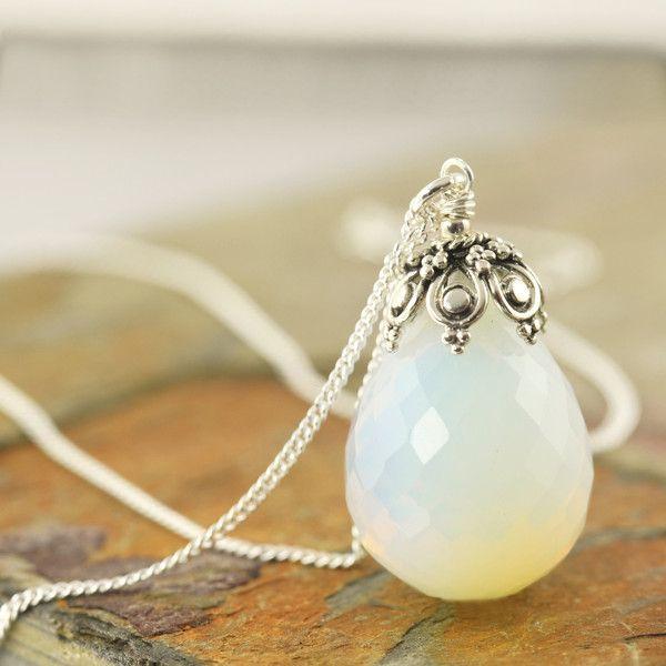 New today → White Opalite Gemstone necklace, October Birthstone