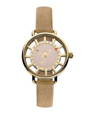 Tate gold-tone leather strap watch Sale - Vivienne Westwood Sale