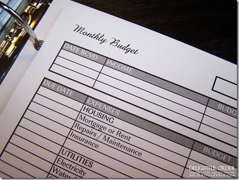 i really like this monthly budget spreadsheet *must do (for homekeeping binder) Posted 1.09.2012, by Delightful Order DaNita at http://organizingmadefun.blogspot.com/p/free-organized-printables.html
