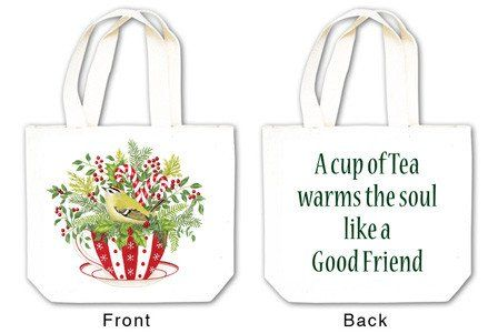 Holiday Tea Cup Tea Tote with Tea and Spiced Tea Cup Mat