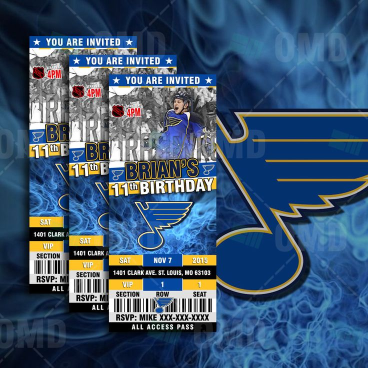 2.5x6 St Louis Blues Hockey Sports Party Invitation, Blues Sports Tickets Invites, Hockey Birthday Theme Party Template by sportsinvites