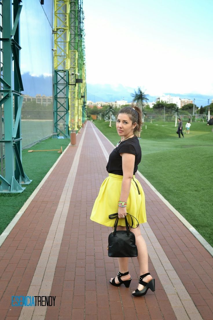 IN BRIGHT YELLOW #look #outfit #yellow #skirt #summer
