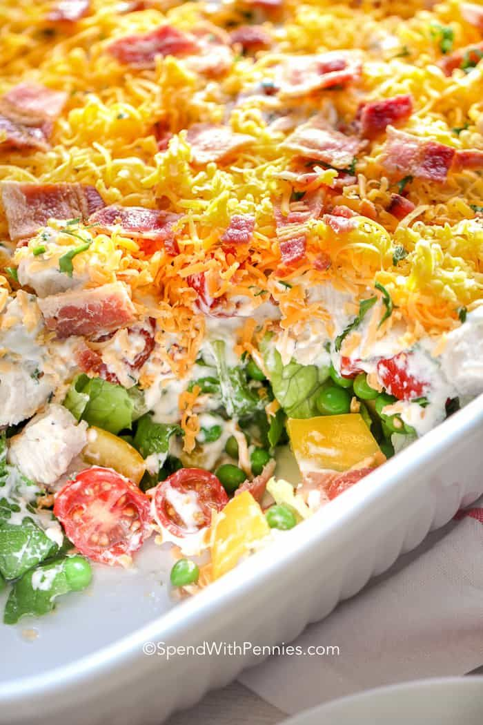 7 Layer Salad Is A Favore Recipe With Layers Of Lettuce Peas And Bacon The Dressing Is A Very Simple Ra Layered Salad Recipes Layered Salad Seven Layer Salad