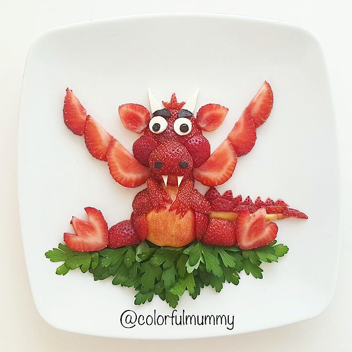 Strawberry Dragon by Ebru, foodart & children (@colorfulmummy)
