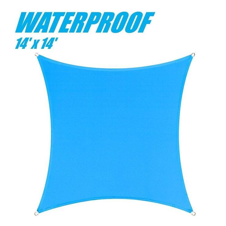 100% BLOCKAGE Waterproof 14' x 14' Sun Shade Sail Canopy Square Blue