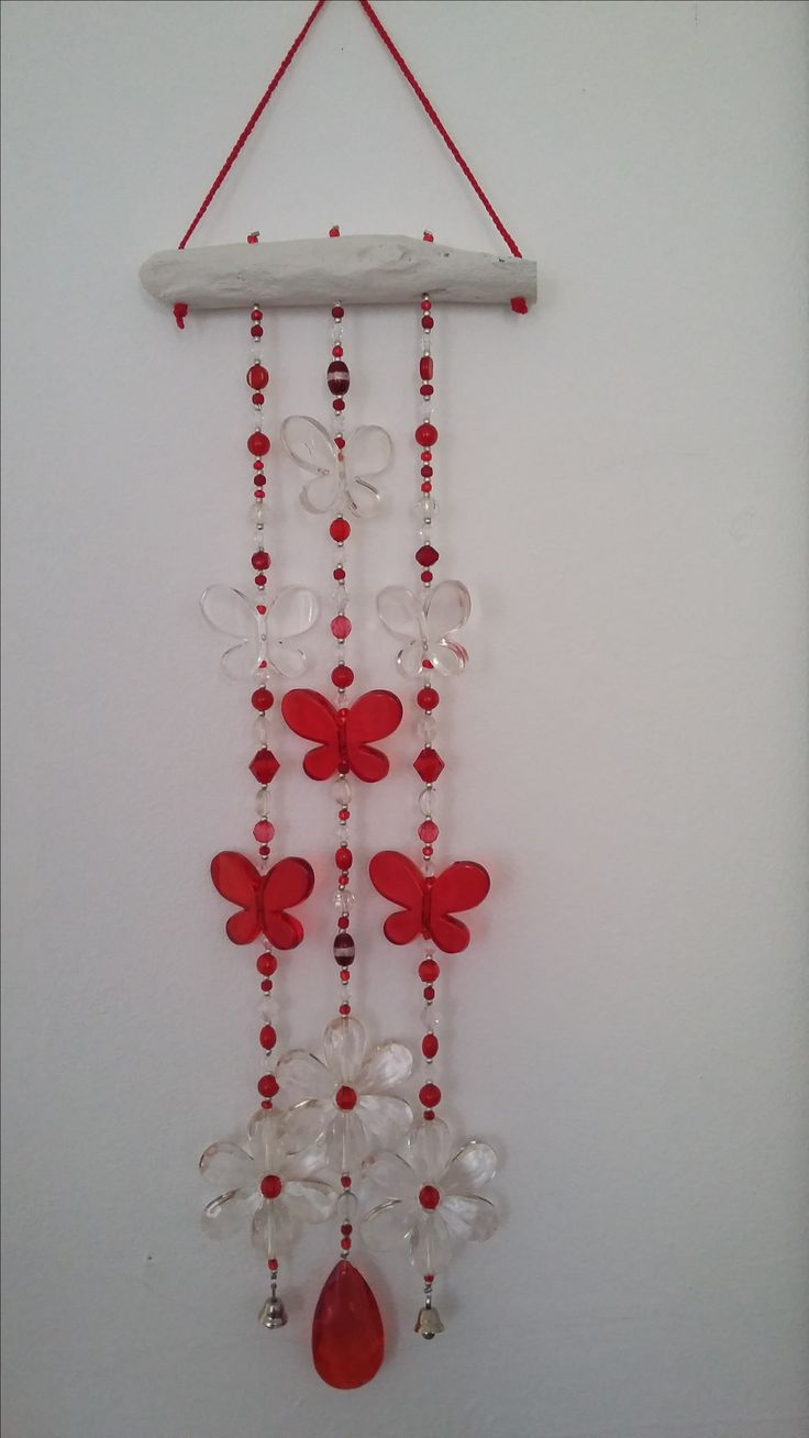 Taryn butterfly wind chime in red