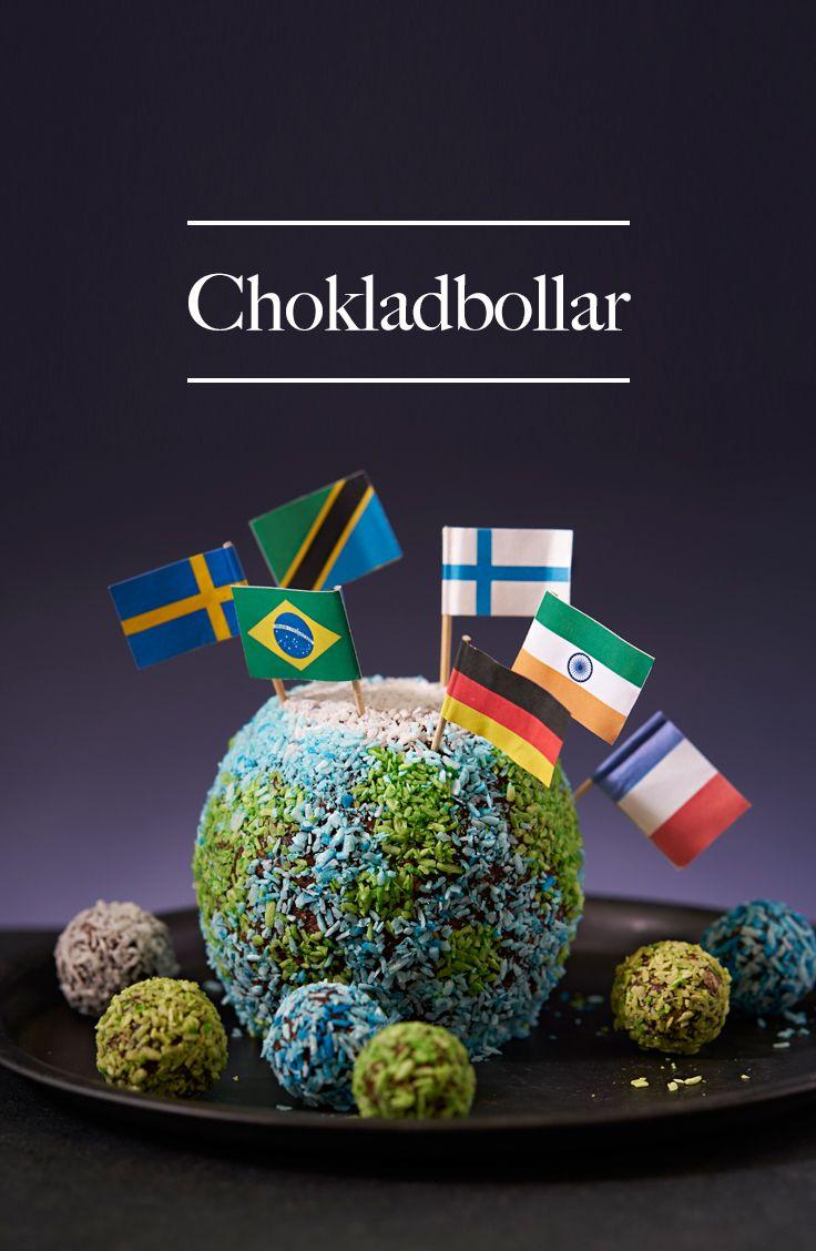 En gigantisk kvargmumsig chokladboll formad som vår jord! Lika kul att titta på som att äta. För vem älskar inte chokladbollar?