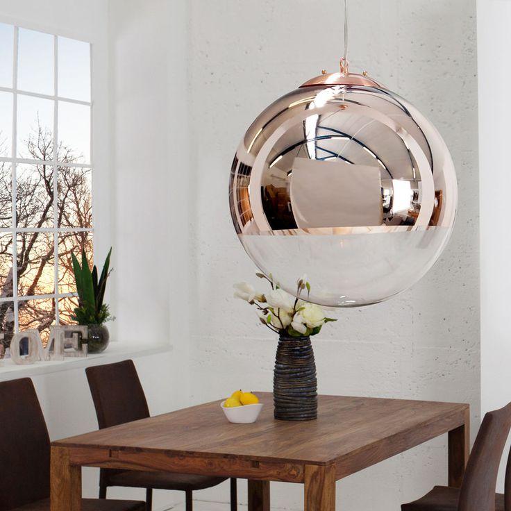 Luxury Edle Design H ngelampe GLOBE cm Glas Kupfer Kugelleuchte H ngeleuchte Lampen in M bel u Wohnen Beleuchtung