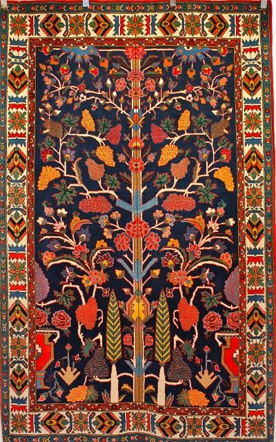 Persian Hand Knotted Bakhtiari Tribal Carpet The Eastern Version Of Tree Life 1970s