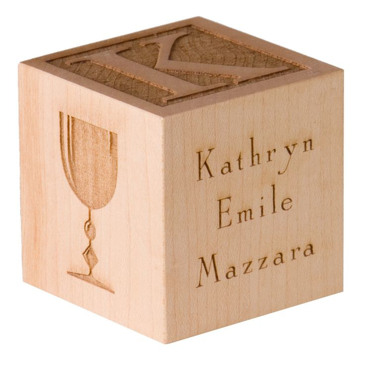 First Holy Communion Block Personalized Engraved Wooden Block First Confirmation Gift First Communion Gift. $25.00, via Etsy.
