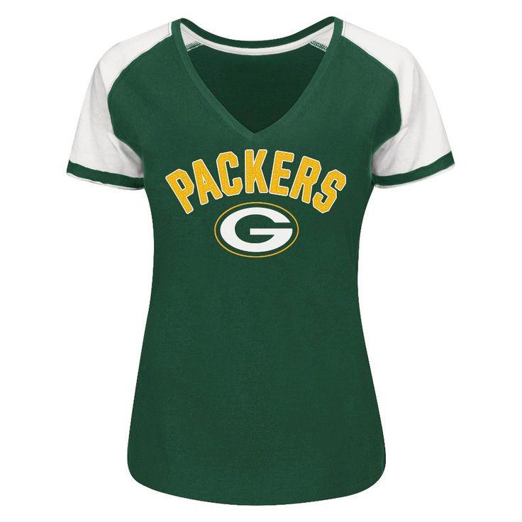 Green Bay Packers Women's Raglan V-Neck T-Shirt XL, Multicolored