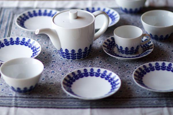 Hakusan Ceramics Hasami-yaki Aoba Blue Leaf Series