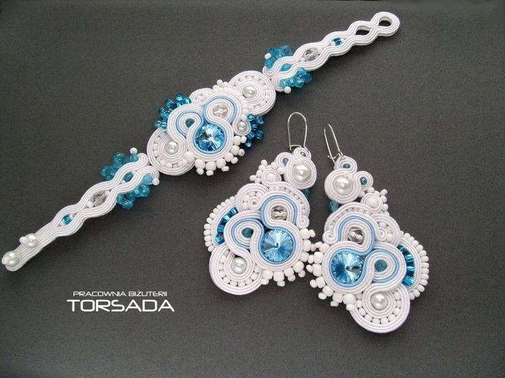 Komplet biżuterii ślubnej LUNA sutasz soutache Swarovski duże kolczyki szeroka bransoletka  - TORSADA www.torsada.otwarte24.pl