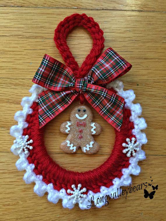 Attaccatura di parete di mano uncinetto Natale ornamento