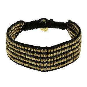 Bracelet mode corde noir et perles dorées - Bijou fantaisie: ShalinCraft: Amazon.fr: Bijoux