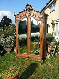 French Rococo Louis XV Armoire Wardrobe Mirrored Doors