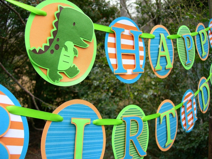 little t rex dinosaur birthday banner ready to ship   35