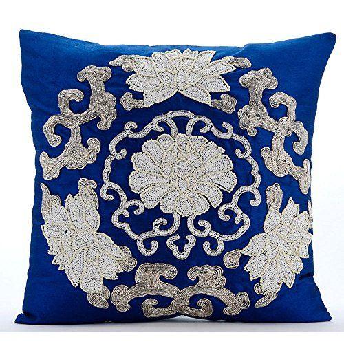 Royal Blue Pillow Cases, Sequins & Beaded Turkish Flower ... https://www.amazon.com/dp/B01645ZHUW/ref=cm_sw_r_pi_dp_x_3VGcybGTSVRKF