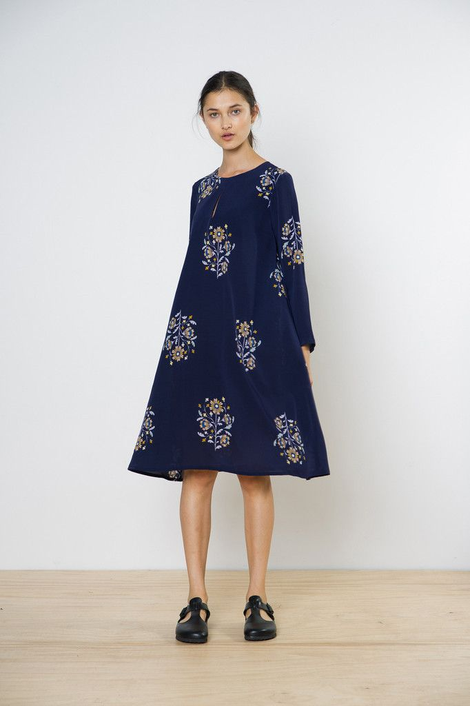 twenty-seven names - Soloist Dress Navy Folk Floral