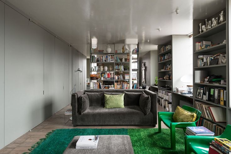 Love the grey/green she's used and those hinges!! of Ilse Crawford's Victorian Warehouse Home in London.