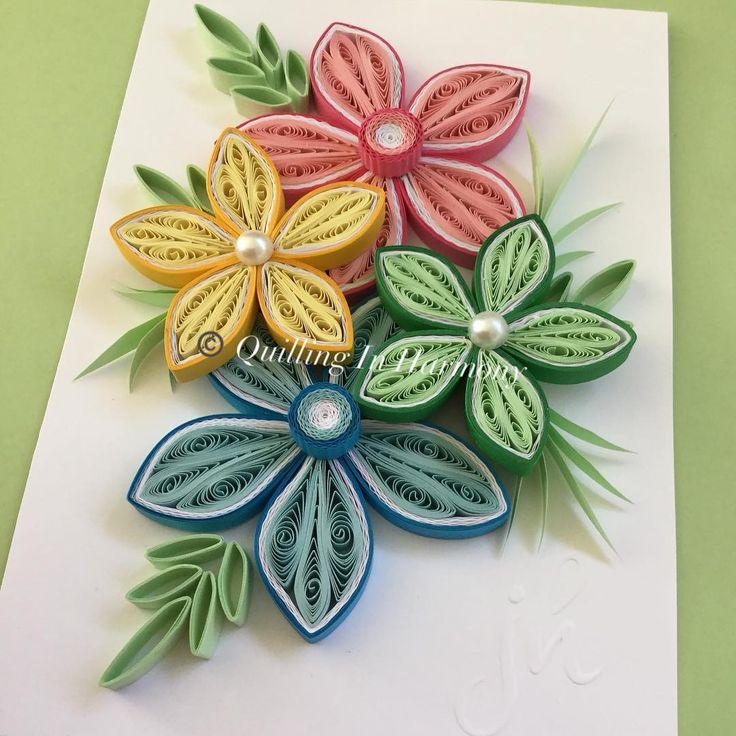 Квиллинг открытка пошагово цветы, анимации удачи открытка