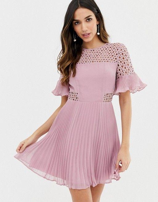 e068db0c6fc2e DESIGN lace insert pleated mini dress in 2019 | Dresses | Dresses ...