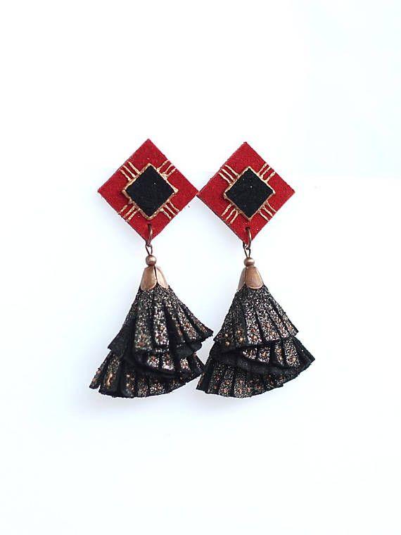 Leather Tassel Earrings Black Suede Glitter Effect Leather