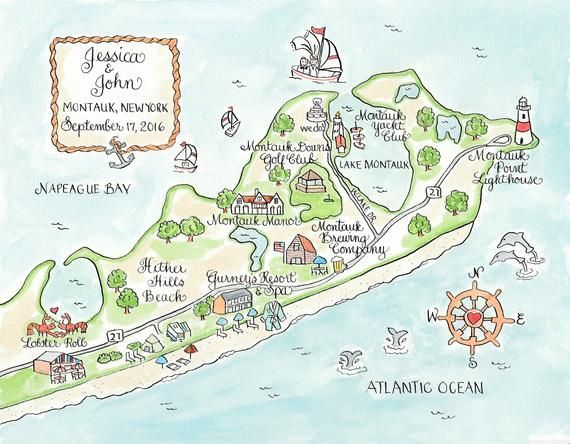 Custom Wedding Map Montauk Hand Drawn Wedding Map Watercolor